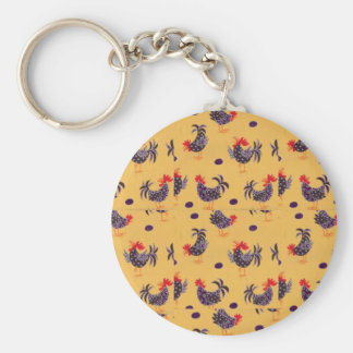 rooster basic round button key ring