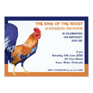 Rooster border Birthday Party Invitation