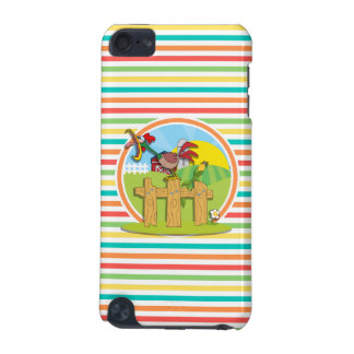 Rooster Bright Rainbow Stripes iPod Touch 5G Covers