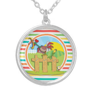 Rooster Bright Rainbow Stripes Pendants