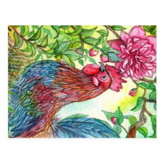 Rooster By Peony Postcard