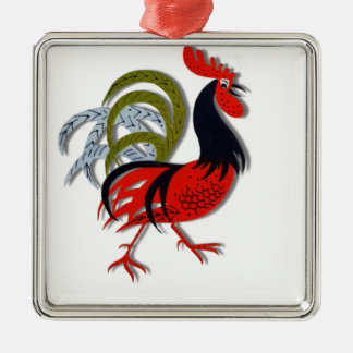 Rooster Cartoon Animated Customize Red Christmas Ornament