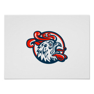 Rooster Cockerel Crowing Head Print