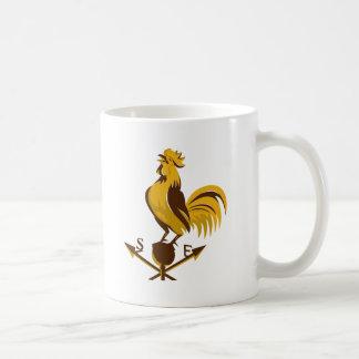 rooster cockerel crowing retro mug