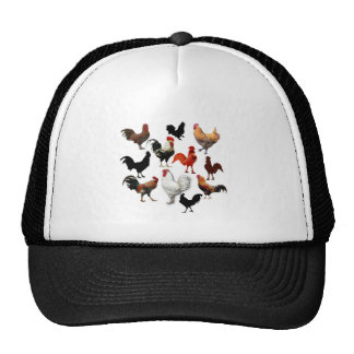 Rooster Collage Vintage Rustic Chickens Cap