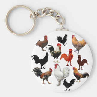 Rooster Collage Vintage Rustic Chickens Key Chain