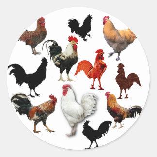 Rooster Collage Vintage Rustic Chickens Round Sticker