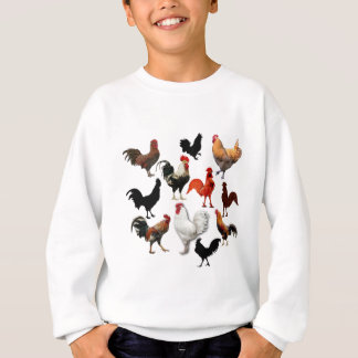 Rooster Collage Vintage Rustic Chickens Sweatshirt