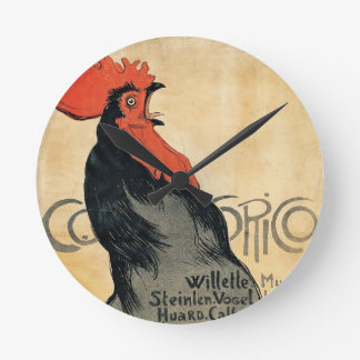 Rooster Crowing, 'Cocurico' Timepiece Round Clock
