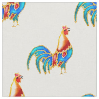 Rooster crowing fabric