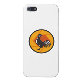 Rooster Crowing Shutter Circle Retro Case For iPhone 5/5S