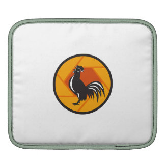 Rooster Crowing Shutter Circle Retro iPad Sleeve