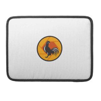 Rooster Crowing Shutter Circle Retro Sleeve For MacBook Pro
