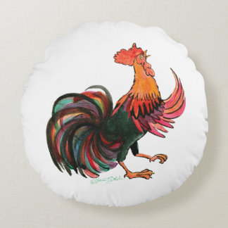 Rooster Crows Round Cushion