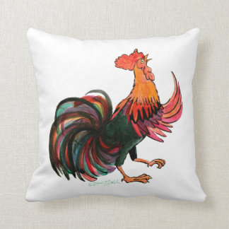 Rooster Crows Throw Pillow
