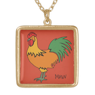 Rooster custom monogram & color necklace