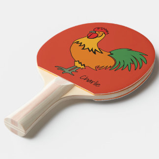 Rooster custom name & color ping pong paddle