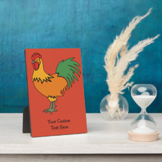 Rooster custom text & color plaque