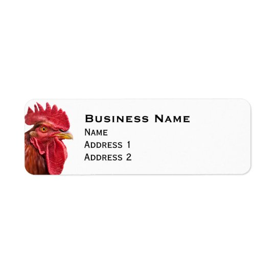 Rooster Face Return Address Label
