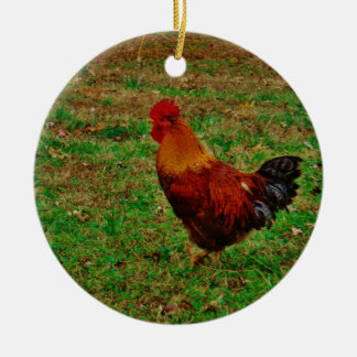 Rooster Facing Left Ceramic Ornament