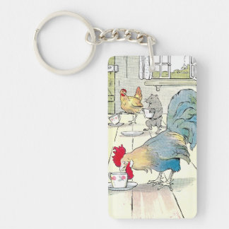 Rooster has a Cup of Tea Single-Sided Rectangular Acrylic Key Ring