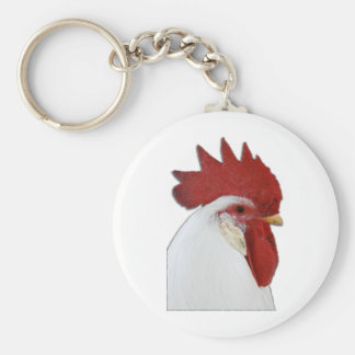 Rooster head profile keychain