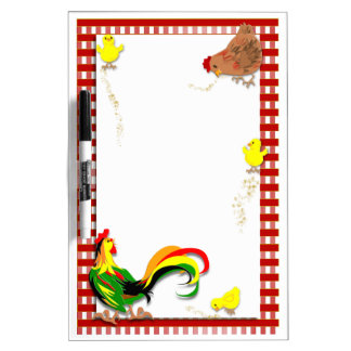 Rooster, Hen and chicks Dry Erase Board