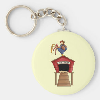 Rooster Hen House Basic Round Button Key Ring