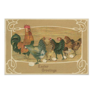 Rooster Hen Laying Easter Egg Photo Print
