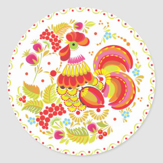 Rooster Hohloma Round Sticker