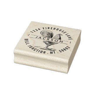 Rooster In Circle Return Address Stamp