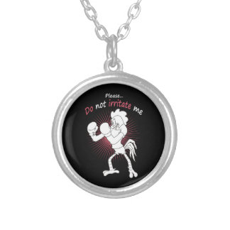 Rooster in gloves silver plated necklace