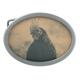 Rooster in Sepia Oval Belt Buckle