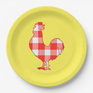 Rooster in Silhouette 9 Inch Paper Plate
