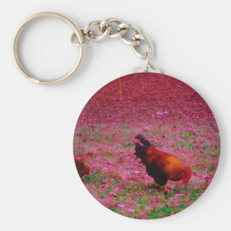 Rooster in the Purple Grass Keychains