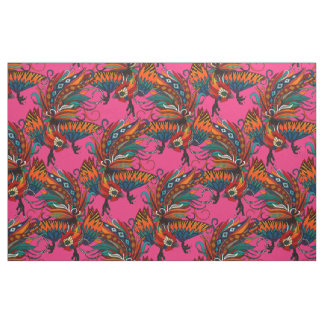 rooster ink pink fabric