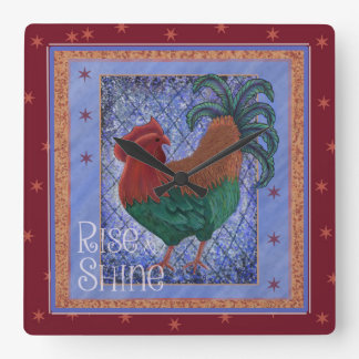 Rooster kitchen clock, rise and shine square wall clock