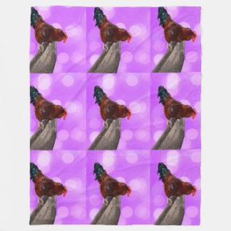 Rooster Nosy Parker, Pink Large Fleece Blanket