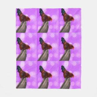 Rooster Nosy Parker, Pink Medium Fleece Blanket