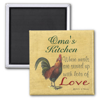 Rooster Oma's Kitchen Refrigerator Magnet