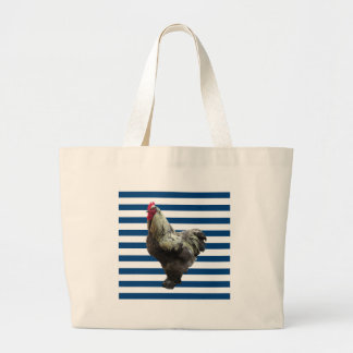 Rooster on blue and white stripes jumbo tote bag