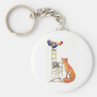 Rooster on Chair Looking Down at Fox Basic Round Button Key Ring
