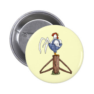 Rooster On Fence Post Pins