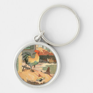 Rooster on the Farm Silver-Colored Round Key Ring