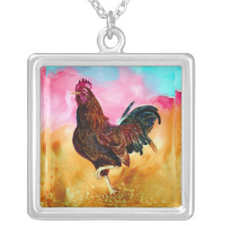 Rooster On the Run Square Pendant Necklace
