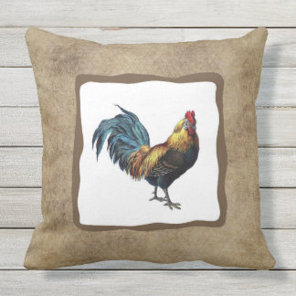 """Rooster Outdoor Throw Pillow 20"""" x 20"""""""