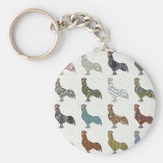 Rooster pattern country basic round button key ring