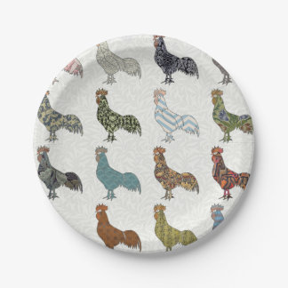 Rooster pattern country paper plate