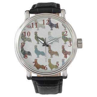 Rooster pattern country watch