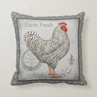 Rooster pillow vintage inspired in greys & creams